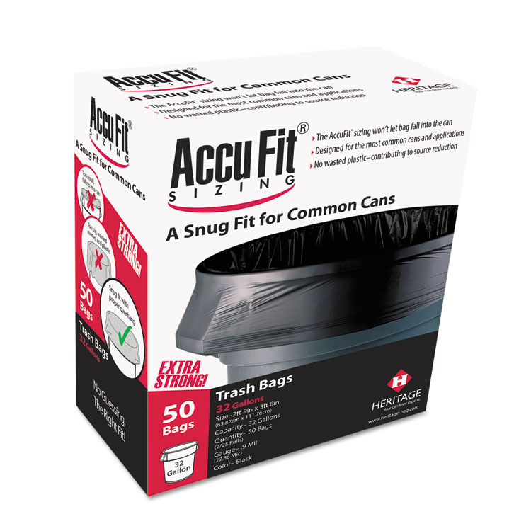 "Picture of AccuFit Trash Bags, Can Liners, 23gal, Heritage Accufit, .90mil, Black, 28"" x 45"", 50/Box"