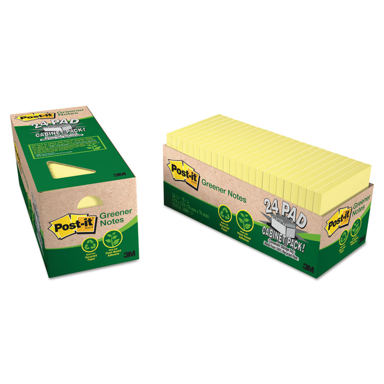 Post-it® Greener Notes 654R-24CP-CY