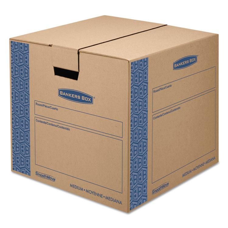 Picture of SmoothMove Prime Medium Moving Boxes, 18l x 18w x 16h, Kraft/Blue, 8/Carton