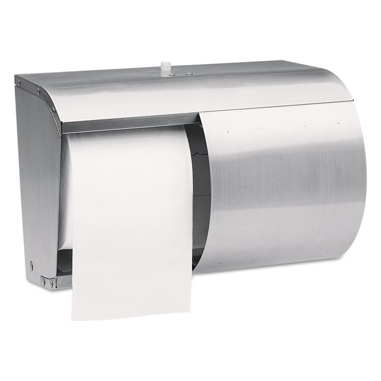 Picture of Coreless Double Roll Tissue Dispenser, 7 1/10 x 10 1/10 x 6 2/5, Stainless Steel