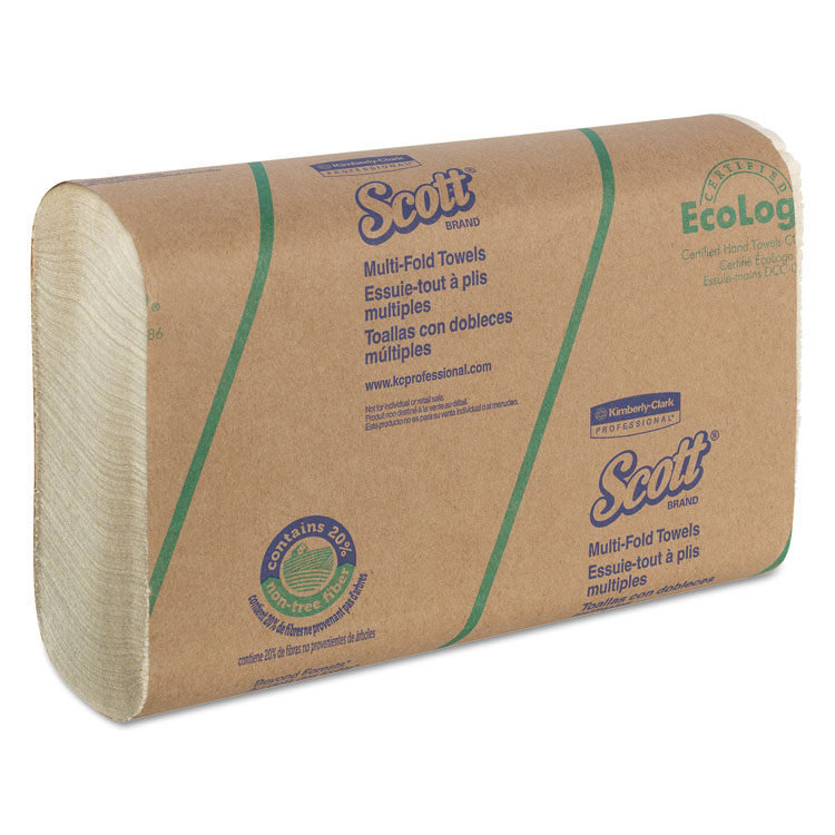 Picture of Multi-Fold Towels, 20% Plant Fiber, 9 2/5x9 1/5, Soft Wheat, 250/Pk, 16/Carton