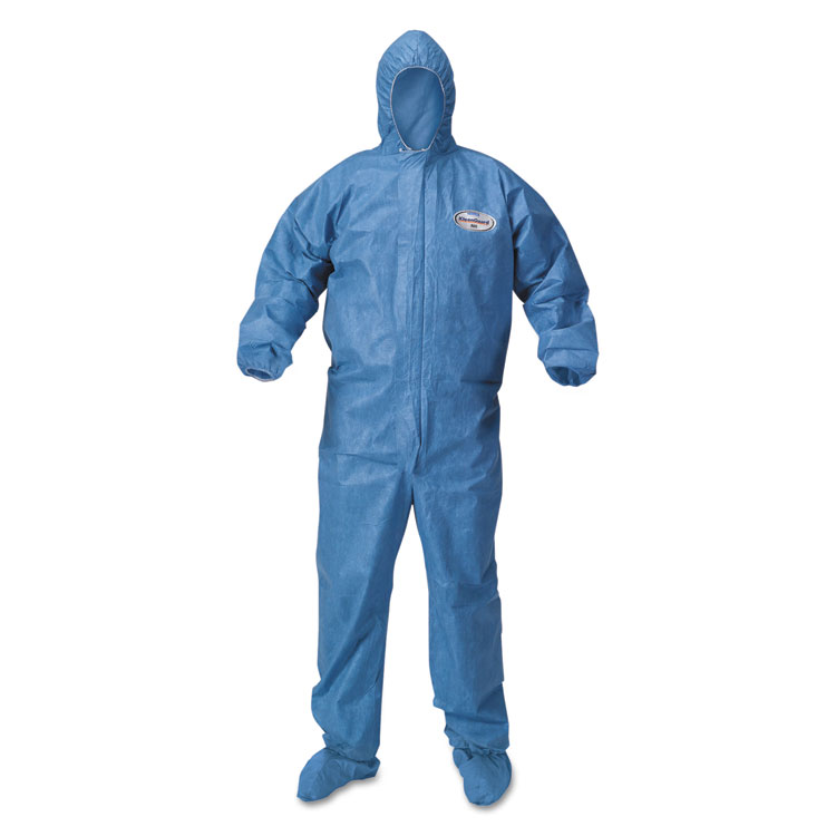 Picture of KleenGuard* A60 Blood and Chemical Splash Protection Coveralls, 3X-Large, Blue, 20/Carton (KCC45096)