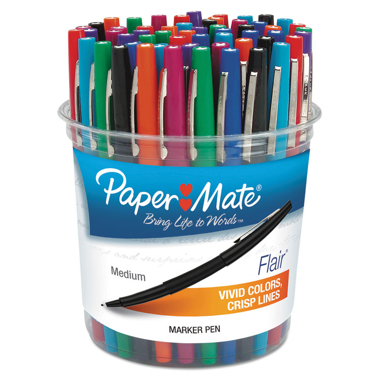 Picture of Point Guard Flair Bullet Point Stick Pen, Assorted Ink, 1.4mm, 48 Pens/Set