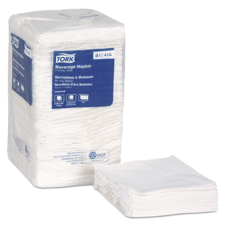 Picture of Essity Beverage , Bev Napkins, 1-Ply, 9 x 9 , 1/4 Fold, White, 4000/ct (TRKB1141A)