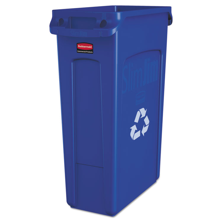 Picture of Trash Can, Recycling Container, Rubbermaid® Commercial Slim Jim , w/Venting Channels, Plastic, 23gal, Blue