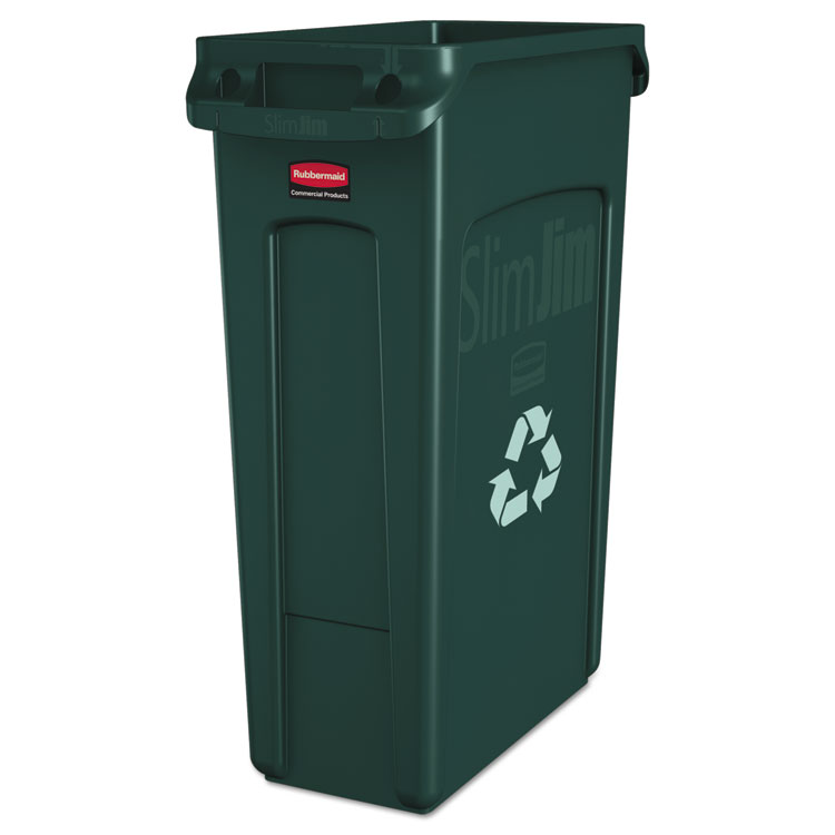 Picture of Slim Jim Recycling Container w/Venting Channels, Plastic, 23gal, Green