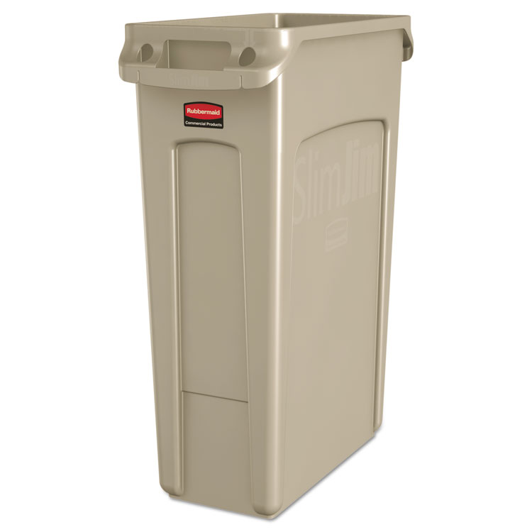 Picture of Rubbermaid Trash Can, Receptacle, Rubbermaid , Slim Jim ,Venting Channels, Rectangular, Plastic, 23gal, Beige (RCP354060BG)