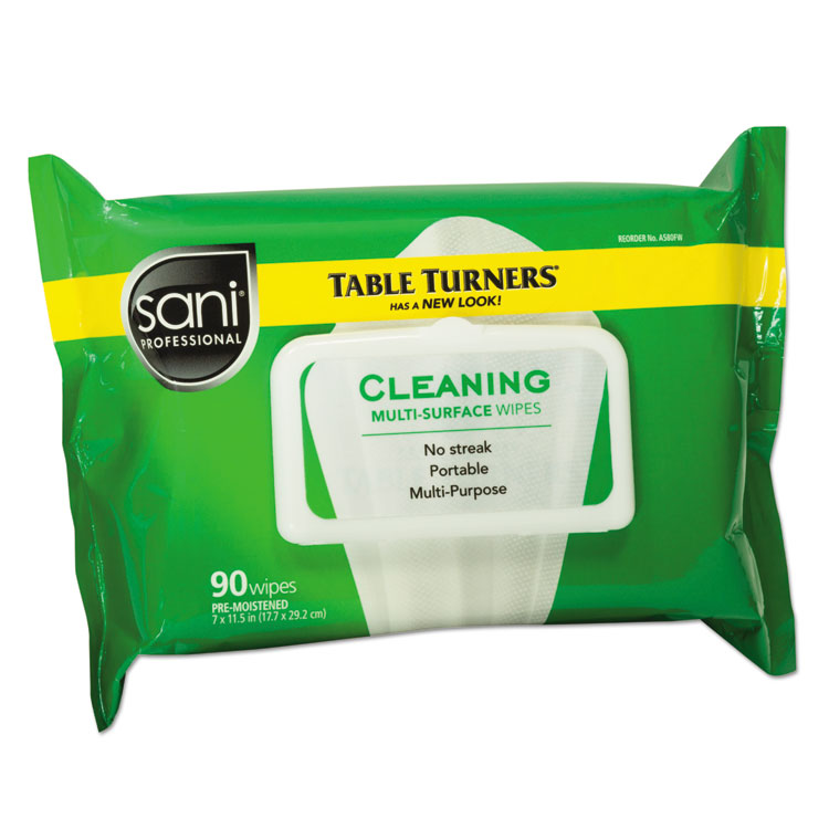 Picture of Table Turner Wet Wipes, 7 x 11 1/2, White, 90 Wipes/Pack, 12 Packs/Carton