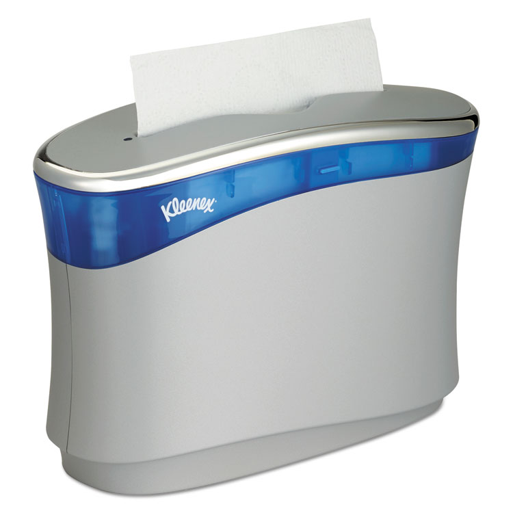 Picture of Reveal Countertop Folded Towel Dispenser, 13.3x9x5.2, Soft Gray/translucent Blue