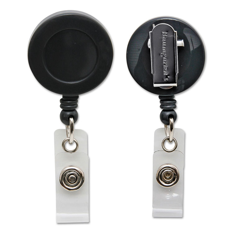 """Picture of Id Card Reel With Spring Clip, 30"""" Extension, Black"""