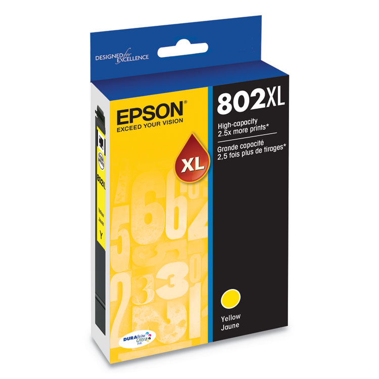 T802XL420S (802XL) DURABrite Ultra High-Yield Ink, 1900 Page-Yield, Yellow