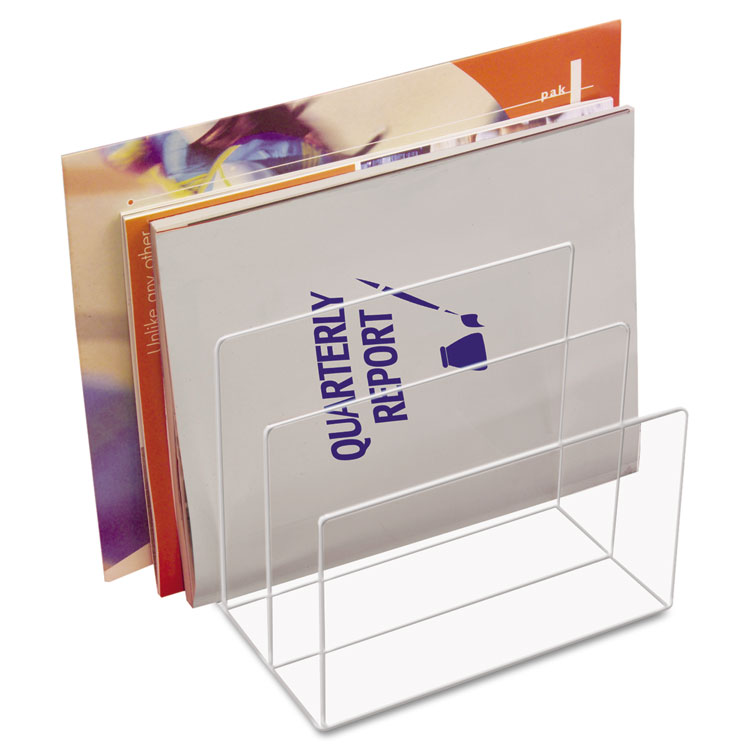 Picture of Clear Acrylic Desk File, Three Sections, 8 x 6 1/2 x 7 1/2, Clear