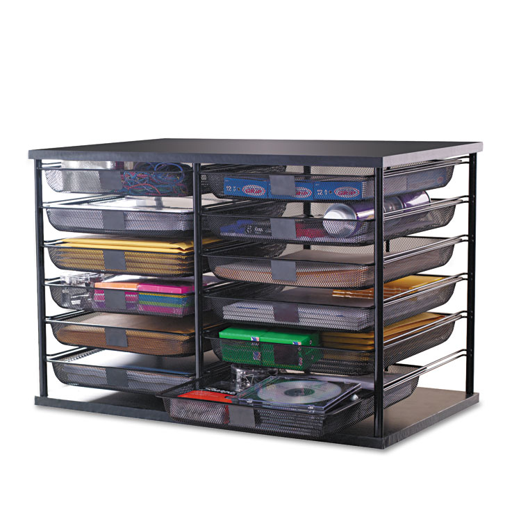 "Picture of 12-Compartment Organizer with Mesh Drawers, 23 4/5"" x 15 9/10"" x 15 2/5"", Black"