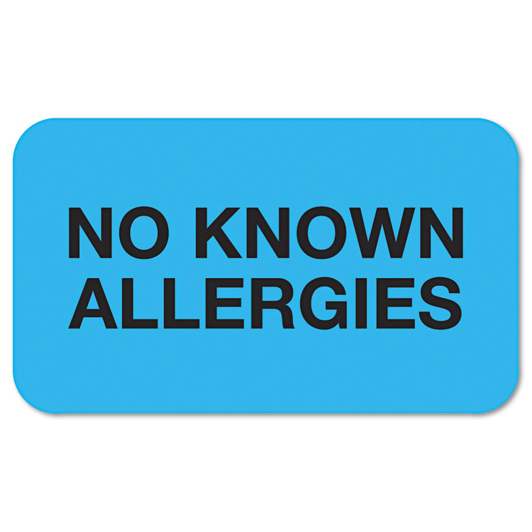 """Picture of """"No Known Allergies"""" Medical Labels, 7/8 x 1-1/2, Light Blue, 250/Roll"""