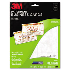 Inkjet Parchment Business Cards, 2 x 3 1/2, White, 50/PK