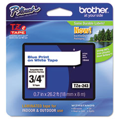 "TZe Standard Adhesive Laminated Labeling Tape, 3/4""w, Blue on White"