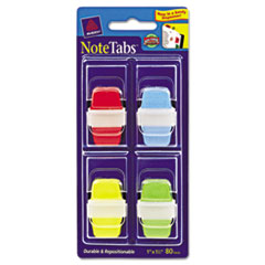 NoteTabs-Notes, Tabs and Flags in One, Blue/Green/Red/Yellow, One Inch, 80/PK