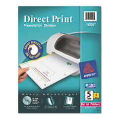 Direct Print Punched Presentation Dividers, 5-Tab, Letter, White, 4 Sets/Pack