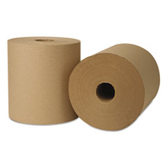 EcoSoft Hardwound Roll Towels, 800 ft x 8 in, Natural, 6 Rolls/Carton