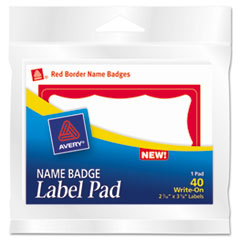 Name Badge Label Pads, 3 x 4, Red/White, 40/Pack