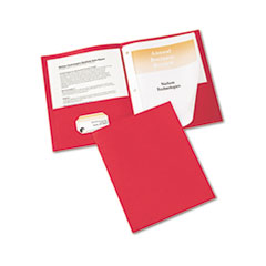 "Two-Pocket Folder, Prong Fastener, Letter, 1/2"" Capacity, Red, 25/Box"