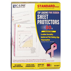 Pink Ribbon Sheet Protector, Clear, Polypropylene, 11 x 8 1/2, 80/BX