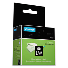 """LabelWriter Address Labels, 1.12"""" x 3.5"""", Clear, 130 Labels/Roll"""