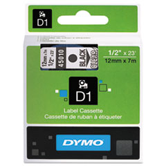 """D1 High-Performance Polyester Removable Label Tape, 0.5"""" x 23 ft, Black on Clear"""