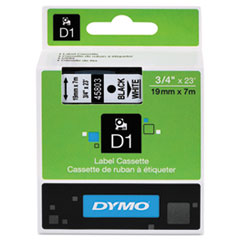 "D1 High-Performance Polyester Removable Label Tape, 0.75"" x 23 ft, Black on White"