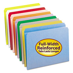 Reinforced Top Tab Colored File Folders, Straight Tab, Letter Size, Blue, 100/Box