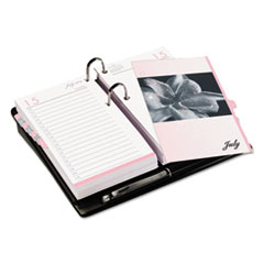 Two-Page-Per-Day Desk Calendar Refill, 3 1/2 x 6, Pink/White, 2015
