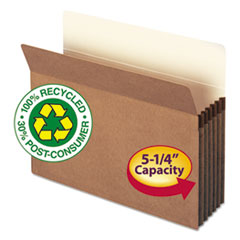 "100% Recycled Top Tab File Pockets, 5.25"" Expansion, Letter Size, Redrope, 10/Box"