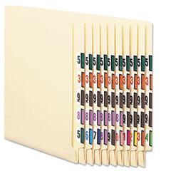 Numerical End Tab File Folder Labels, 0-9, 1 x 1.25, White, 500/Roll, 10 Rolls/Box