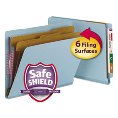 End Tab Colored Pressboard Classification Folders with SafeSHIELD Coated Fasteners, 2 Dividers, Letter Size, Blue, 10/Box