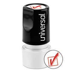 Round Message Stamp, CHECK MARK, Pre-Inked/Re-Inkable, Red