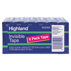 "Invisible Permanent Mending Tape, 1"" Core, 0.75"" x 83.33 ft, Clear, 6/Pack"