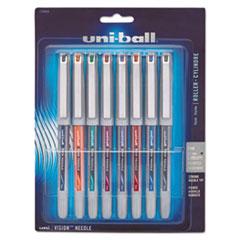 VISION Needle Stick Roller Ball Pen, Fine 0.7mm, Assorted Ink, Silver Barrel, 8/Set