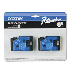 """TC Tape Cartridges for P-Touch Labelers, 0.5"""" x 25.2 ft, Black on White, 2/Pack"""