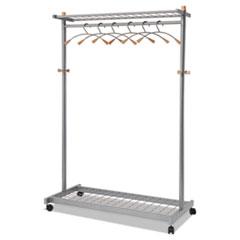 Garment Racks, Two-Sided, 2-Shelf Coat Rack, 6 Hanger/6 Hook, 44.8w x 21.67d x 70.8h, Silver Steel/Wood