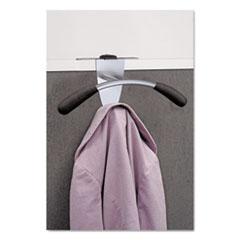Hanger Shaped Partition Coat Hook, Silver/Black, 15 x 4 1/2 x 7 7/8
