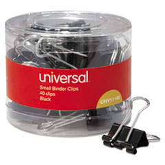 Binder Clips in Dispenser Tub, Small, Black/Silver, 40/Pack