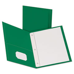 """Twin-Pocket Folders with 3 Fasteners, Letter, 1/2"""" Capacity, Green, 25/Box"""