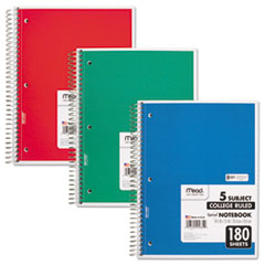 Spiral Notebook, 5 Subjects, Medium/College Rule, Assorted Color Covers, 10.5 x 8, 180 Pages