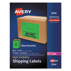 Neon Shipping Label, Laser, 8 1/2 x 11, Neon Assorted, 50/Box