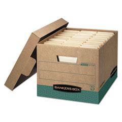 """R-KIVE Heavy-Duty Storage Boxes, Letter/Legal Files, 12.75"""" x 16.5"""" x 10.38"""", Kraft/Green, 12/Carton"""