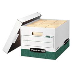 """R-KIVE Heavy-Duty Storage Boxes, Letter/Legal Files, 12.75"""" x 16.5"""" x 10.38"""", White/Green, 12/Carton"""