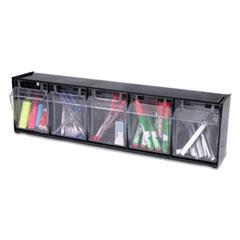 "Tilt Bin Interlocking Multi-Bin Storage Organizer, 5 Sections, 23.63"" x 5.25"" x 6.5"", Black/Clear"