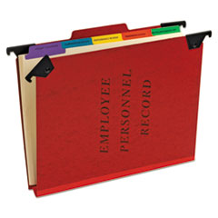Hanging Style Personnel Folders, 1/3-Cut Tabs, Center Position, Letter Size, Red
