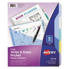 Write & Erase Big Tab Plastic Dividers w/ Slash Pocket, 5-Tab, Letter