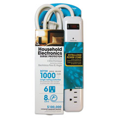 Household Electronics Surge Protectors, 6 Outlets, 1000 Joules, White
